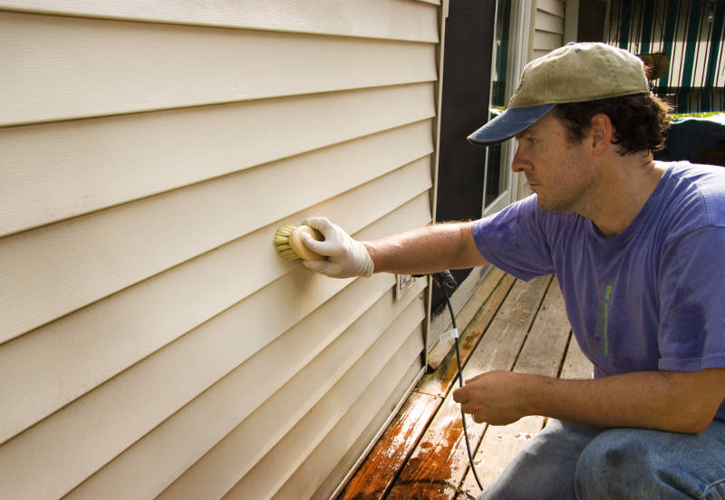 use a brush to clean your vinyl siding